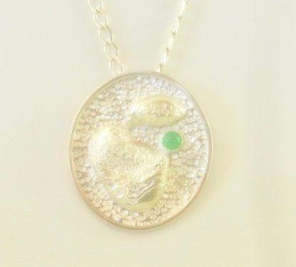 Fine Silver Pendant with chrysoprase stone