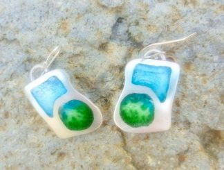 Blue and Green Champleve earrings
