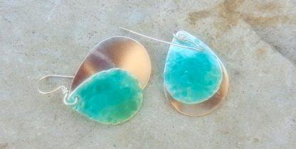 Light Turquoise Enamel Earrings on .999 Fine Silver