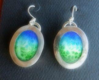 Oval Enamel and Fine Silver Earrings Alt.Text