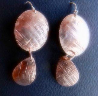 Oval and Teardrop Copper Earrings