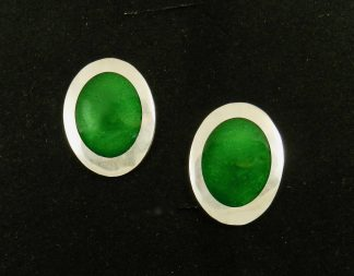 Emerald Green Enamel and Fine Silver Post Earrings