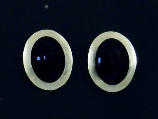 Black Enamel and Fine Silver Earrings
