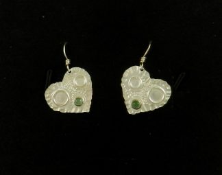 Heart Shaped Fine Silver Earrings with Amazonite Accent