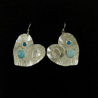 Heart Shaped Fine Silver Earrings with Turquoise and Amazonite