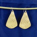 Fan Shape Brass Earrings with Lightning Texture