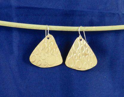 Fan Shape Brass Earrings with Swiss Cheese Texture
