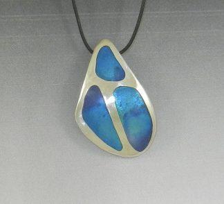 Shades of Blue Enamel Pendant on Fine Silver