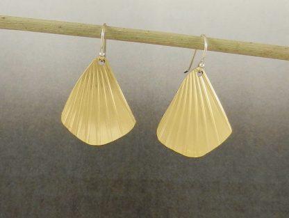 Shell Shape Brass Earrings on Sterling Ear Wires